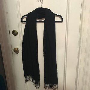 Long black pashmina scarf with fringe tassels